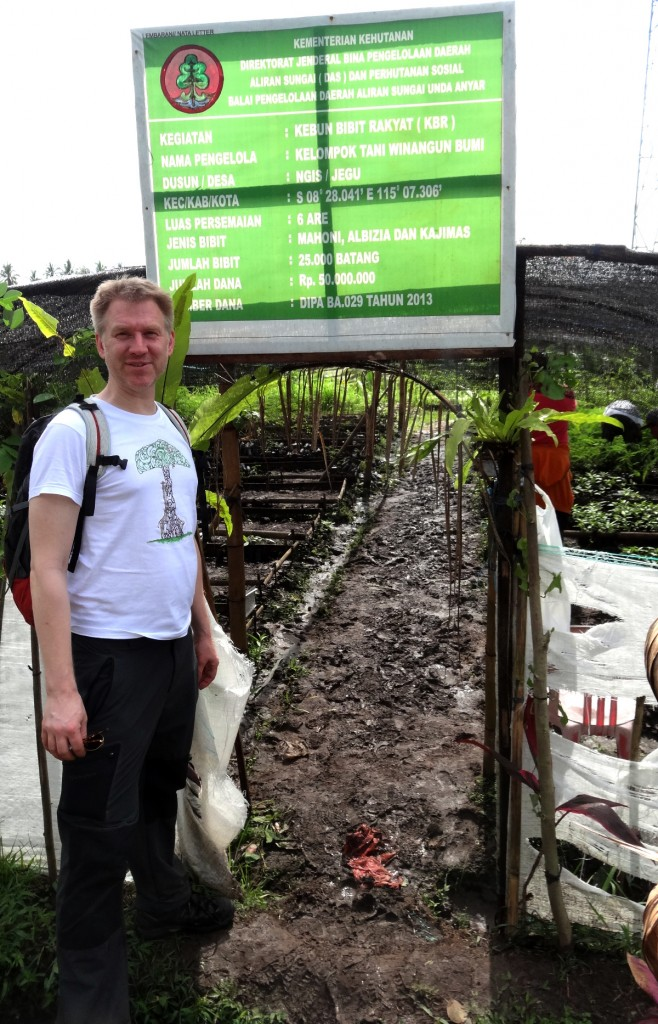 The tree nursery, with information sign in Bahasa Indonesia.