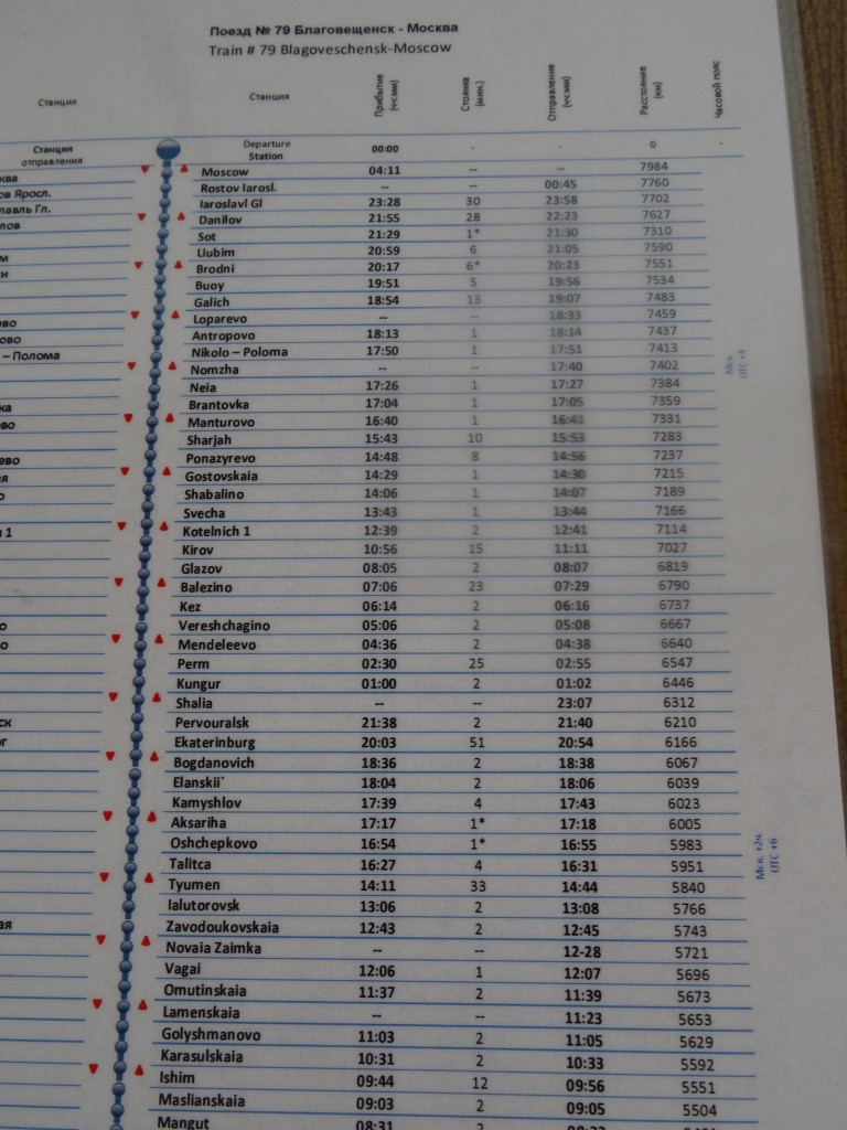 Timetable - with all the stops. All in Moscow time.