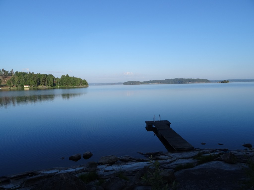 Mjörn lake on a sunny morning. Still a bit cool, but the boys went swimming...