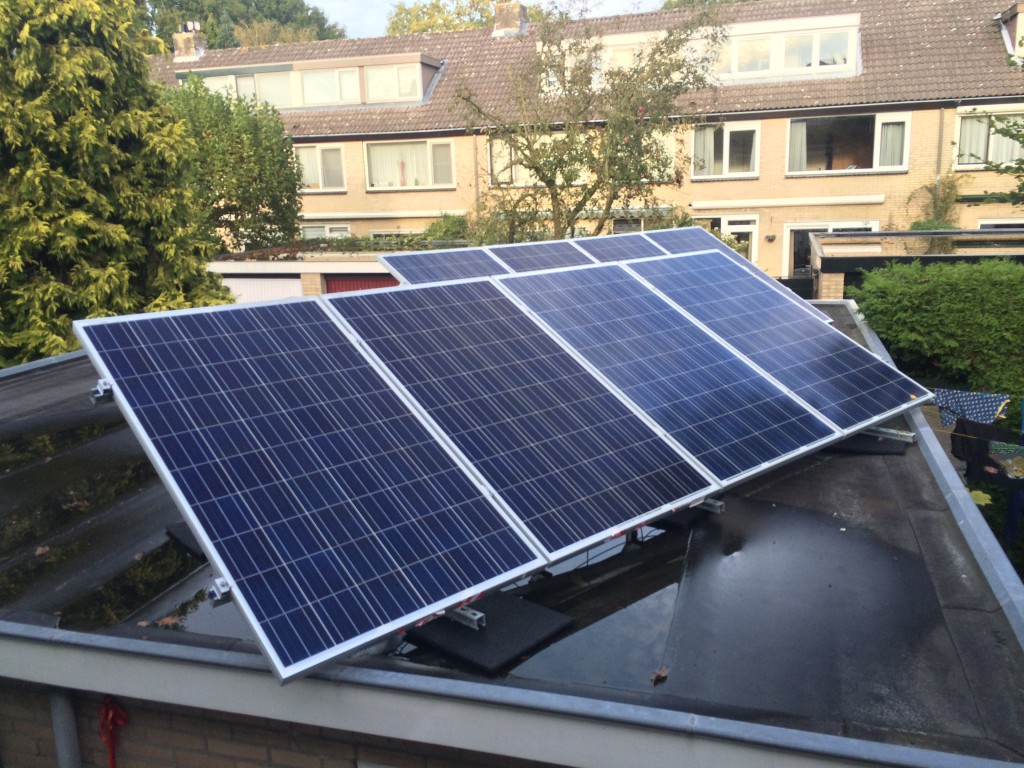 Solar cells on our garage. 8 panels of 160x100 cm.
