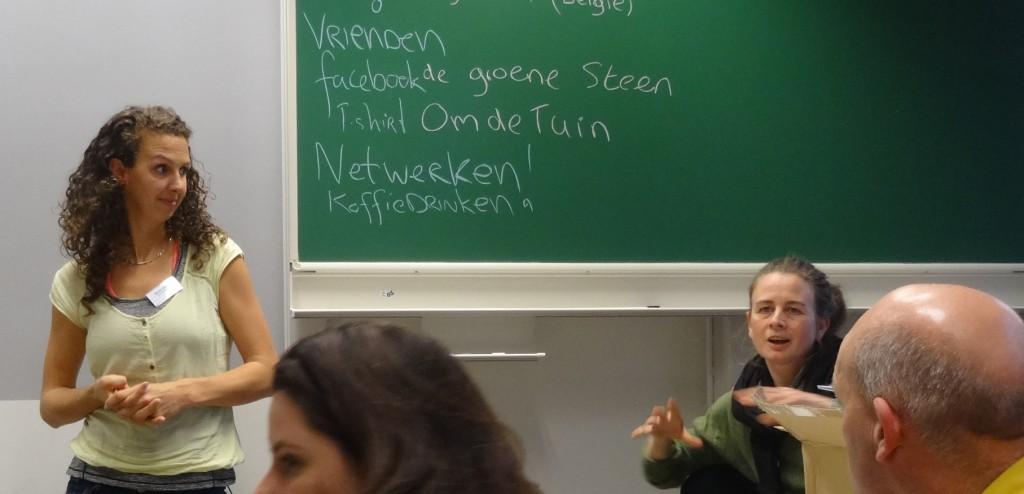 """Janneke Steenmans van tuinderij """"De Groene Steen"""" in De Bilt (rechts)"""